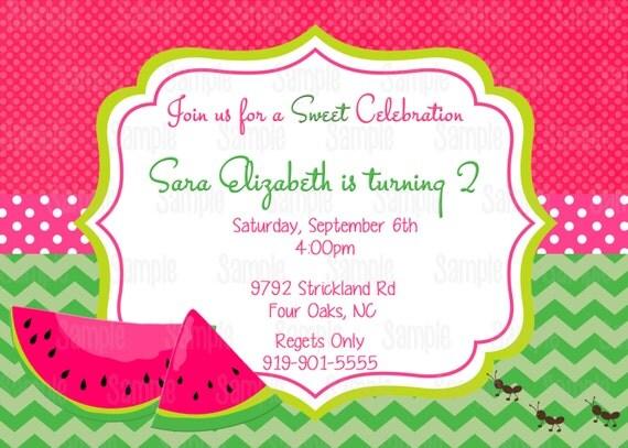 items similar to pink watermelon invitation printable