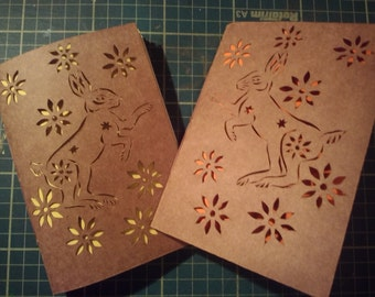 Dancing Hare papercut, hand made notebook.
