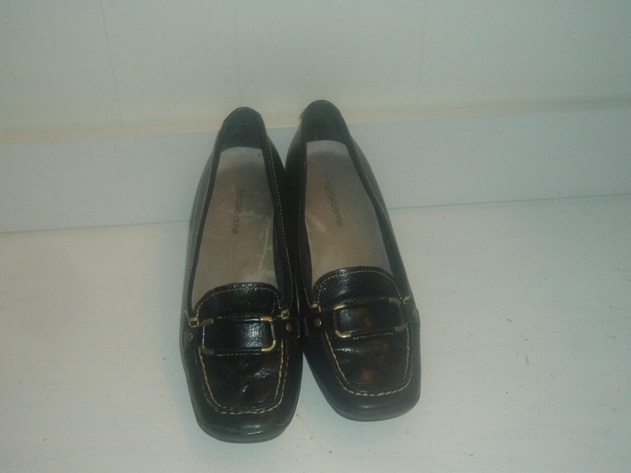 vintage leather black wedge shoes liz claiborne 8m