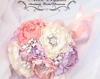 Wedding brooch Bouquet.fabric lilac violet peonies bridal bouquet , coral and ivory bouquets .