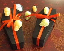 Halloween Coffin Treat Boxes - Coffin Favor Box Halloween - Unassembled Coffin Boxes with Lids - Treat Boxes - set of 10