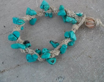 Turquoise hemp bracelet