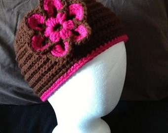 Womens Flowered Beanie