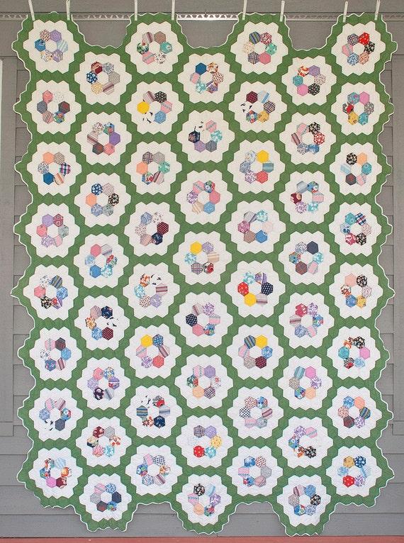 1930 39 S Flower Garden Quilt Hand Quilted