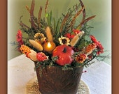 Primitive Fall Decor in Rusty Bucket w/ Sweet Annie and a Tea-Light