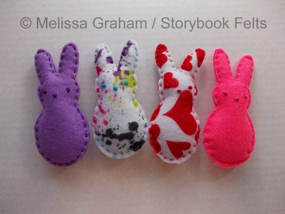 Felt Easter Peep Bunny In Prints Or Solid Colors Set Of 4 Glitter & Print  Or Set Of 5 Solid Colors