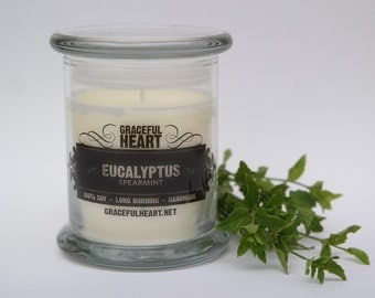 Soy Candle Eucalyptus Spearmint, Candle, Scented Soy Candle, 12 oz, Natural Soy Candle, Soy Container Candle, Pet Calming, Aromatherapy