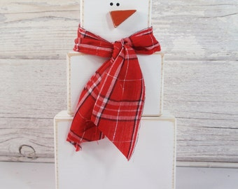 Primitive Wood Block Snowman- Handmade-Handcrafted - Christmas decor- Country- Distressed- Farm Decor
