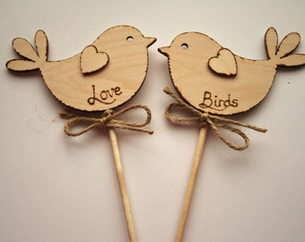Love Birds, Rustic Wedding Cake Topper, Bird Cake Topper - Rustic Cake Topper, Wooden Cake Topper