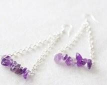 Sterling Silver Amethyst Earrings * February Birthstone Earrings * Geometric Earrings * Triangle Earrings * Boho Earrings / D129