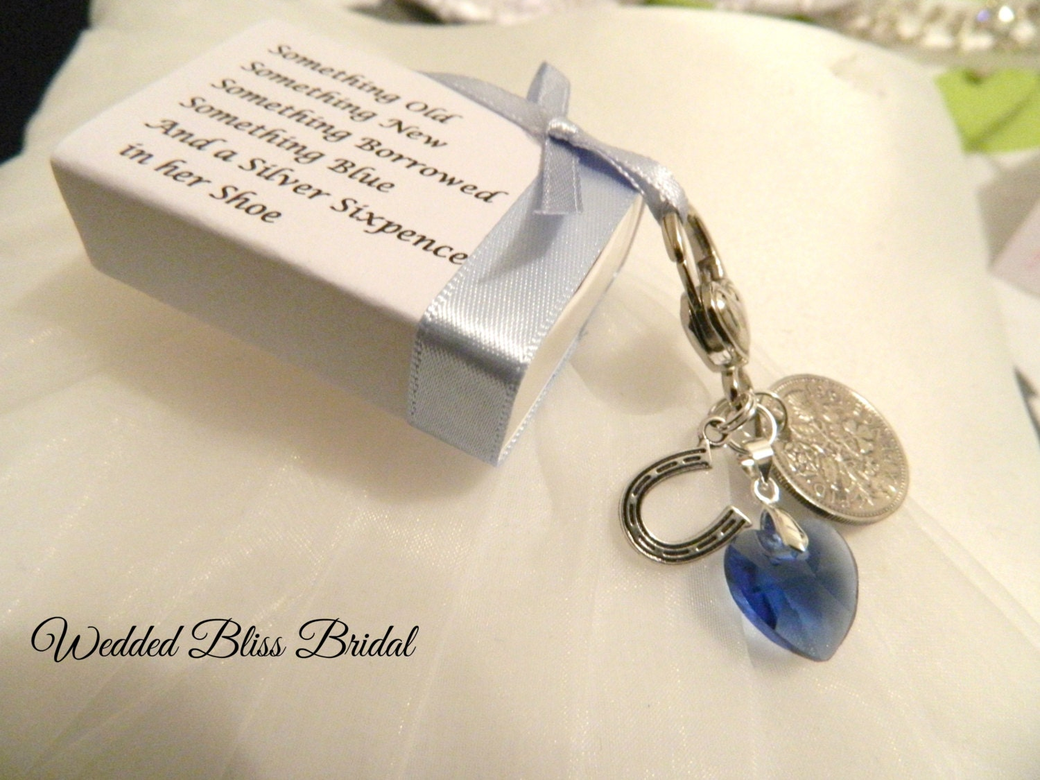 wedding bouquet charm something blue royal