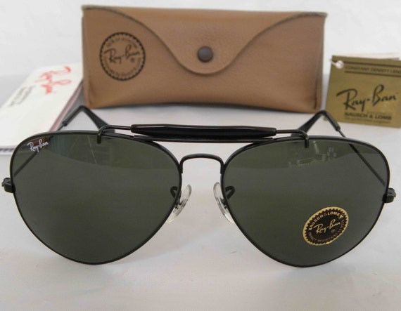 ray ban outdoorsman 7rhj  New Vintage B&L Ray Ban Outdoorsman II 62mm Black L2114 Aviator Sunglasses  usa