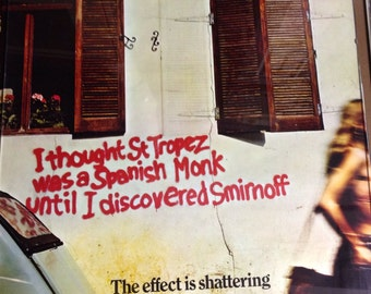 1970's Smirnoff Vodka Poster Advertisement AntikaGarage