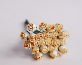 Paper Flower, mini budding rose, shade cream&yellow color.