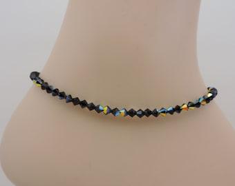 Ankle Bracelet, Swarovski Crystal Ankle Bracelet, Black Anklet, Jet Aurora Borealis