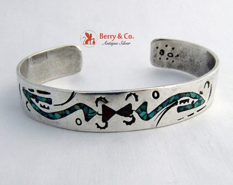 Vintage Sterling Silver Mosaic Inlay Cuff Bracelet