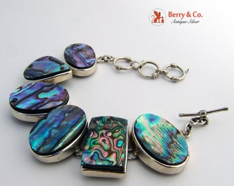 Vintage Iridescent Abalone Shell and Sterling Bracelet
