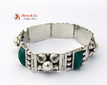 Vintage Mexican Sterling Silver Green Agate Bracelet Eb60