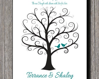 Wedding Fingerprint Tree - 24x36 - Thumbprint Wedding Tree - NB - Wedding Tree - Guest Book - Wedding Guestbook