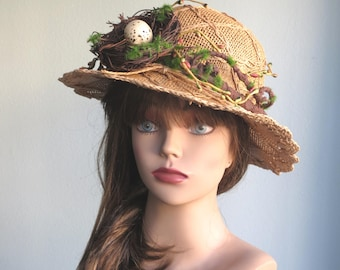 Hat with Nest Egg Branches Head Piece Kentucky Derby Hat Couture Fascinator Party Hat