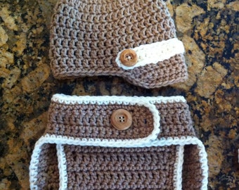 Baby boy brimmed hat and diaper cover, photo prop