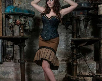 Steampunk hi-lo pencil skirt