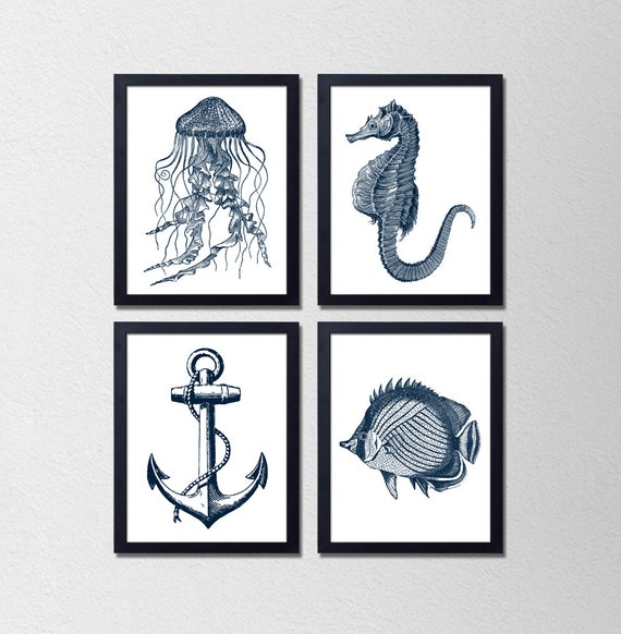 Items similar to set of 4 nautical prints bathroom for Vintage bathroom printables