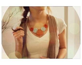 Crocheted Bib Necklace - Burnt Orange and Pale Blue