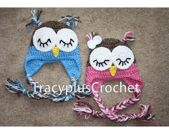 Crochet Sleepy Owl Hat with earflaps. Owl beanie with braids. Photo Prop. Handmade to order.