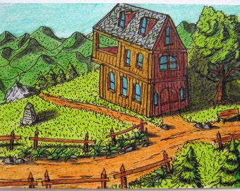 Original art aceo card drawing of a fantasy world house 'Gather Inn', ACEO illustration , Fantasy world series
