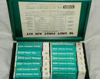 Vintage MSA First Aid Kit 16 Unit Mine Safety Appliances Company metal box with contents