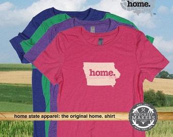 Iowa Home. T-shirt- Womens Red Green Royal Pink Purple