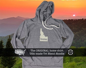 Tri Blend Pull Over Hoodie Idaho Home Sweatshirt