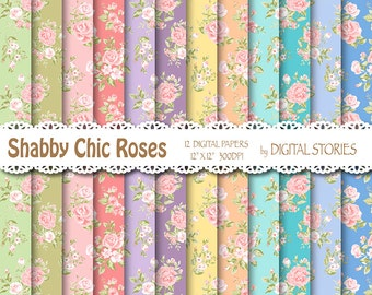 "Shabby Chic Digital Paper: ""SHABBY CHIC GARDEN"" Floral pastels digital papers with roses for scrapbooking, invites, cards"