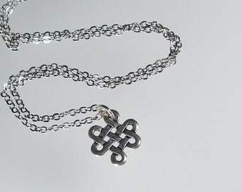 Silver Eternity Knot Pendant Necklace, Silver Endless Knot Necklace, Bridesmaid Jewelry, Eternity Necklace (N123S.)