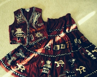 Vintage Ethnic Tribal  Boho Skirt Set Rene Derhy