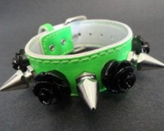 Green PVC Spike & Roses Bracelet