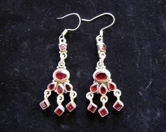 Sterling Silver Red Garnet Drop Earrings