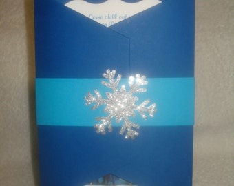Glitter Silver Snowflake FROZEN theme INVITATIONS