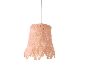 Crochet Hanging Lamp Shades in a Warm Pink Color
