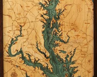 "CHESAPEAKE BAY -  24.5"" x 31"", Laser-Cut, 3-Dimensional Topographic Wood Chart/Lake Art Map"