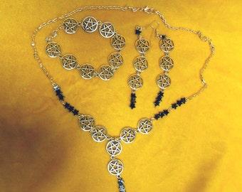 OOAK Hand Made Satanic Pentagram Necklace Bracelet Earrings Set Gothic Punk Vampire Death Satan Halloween All Hallows Eve Samhain