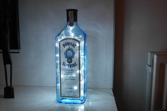 items similar to upcycled modern cool bombay sapphire gin bottle lamp retro super rare. Black Bedroom Furniture Sets. Home Design Ideas