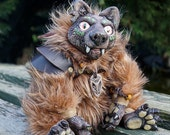 Wild Bill - original OOAK art doll - werewolf - wolf - fur