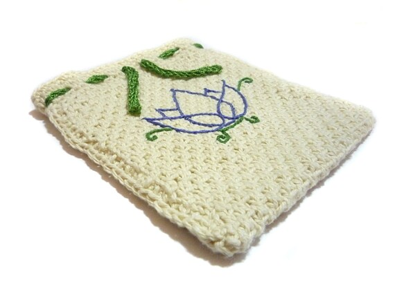 Knit Pattern Tarot Bag : Lotus Embroidered Knit Tarot Bag Tarot Pouch by ...