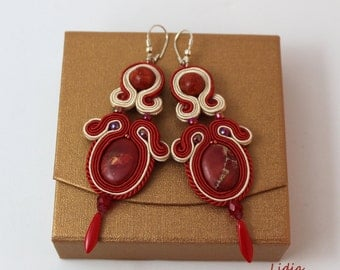 Dangle Earrings Soutache Earrings with Red Jasper  Embroidered Jewelry Gift Ideas For Her