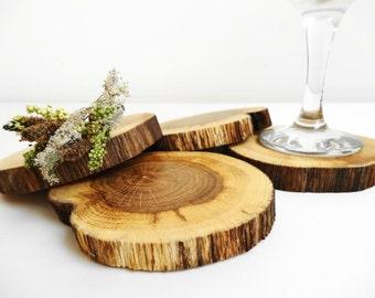 Coasters, Rustic Coasters, Oak Coasters, Wood Coasters, Rustic Decor, Set of 4
