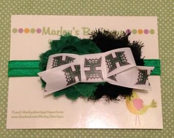 University of Hawaii double shabby headband. Newborn, infant, toddler, child, and adult sizes