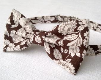 Men's floral bow tie - brown floral print bow tie - vintage cotton bow tie