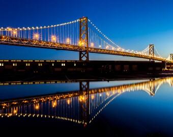 San Francisco Bay Bridge Photo Print - Beautiful Reflection Photograph of the Bay Bridge Along the SF Bay - Vibrant Colors Blue and Yellow